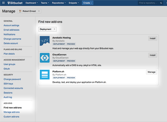 Continuous Deployment Using Bitbucket Connect and Platform sh